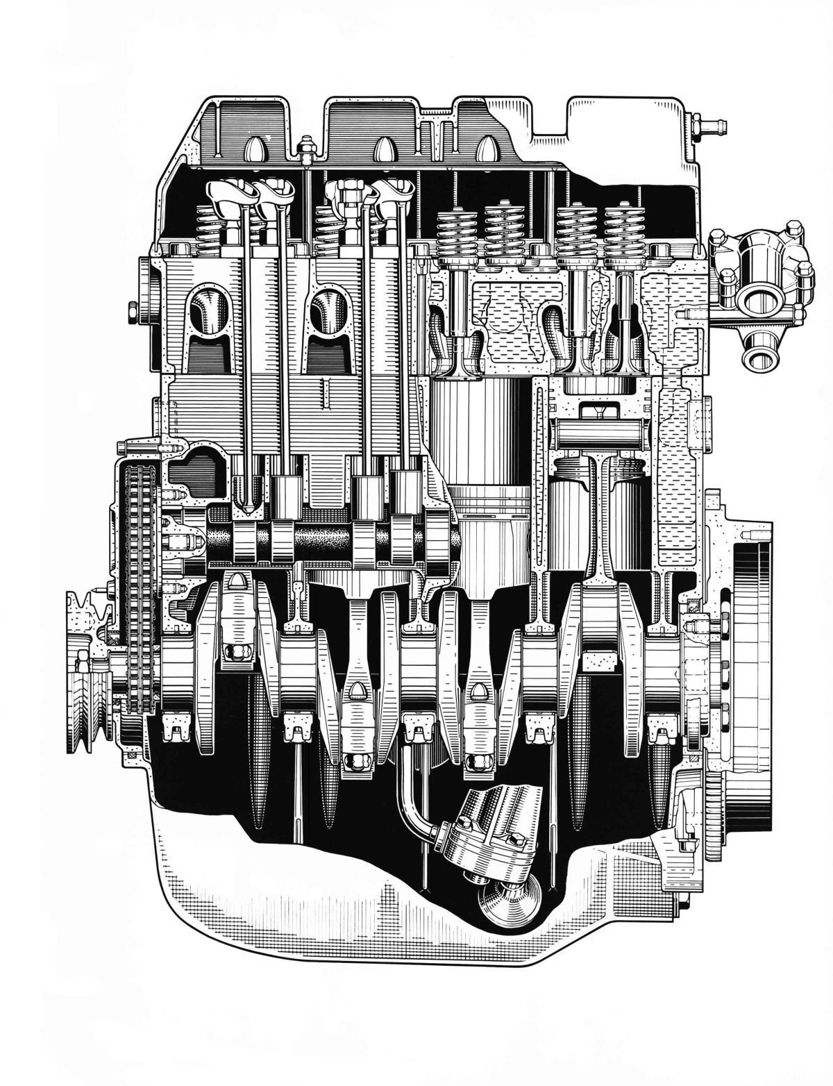 """Mitteldruckmotor"" des ersten Audi, 1965. Die Vierzylinder-Konstruktion geht auf die Mercedes-Benz Entwicklung M 118 zurück. ""Medium pressure engine"" of the first Audi, 1965. The four-cylinder design was based on development of the Mercedes-Benz M 118."